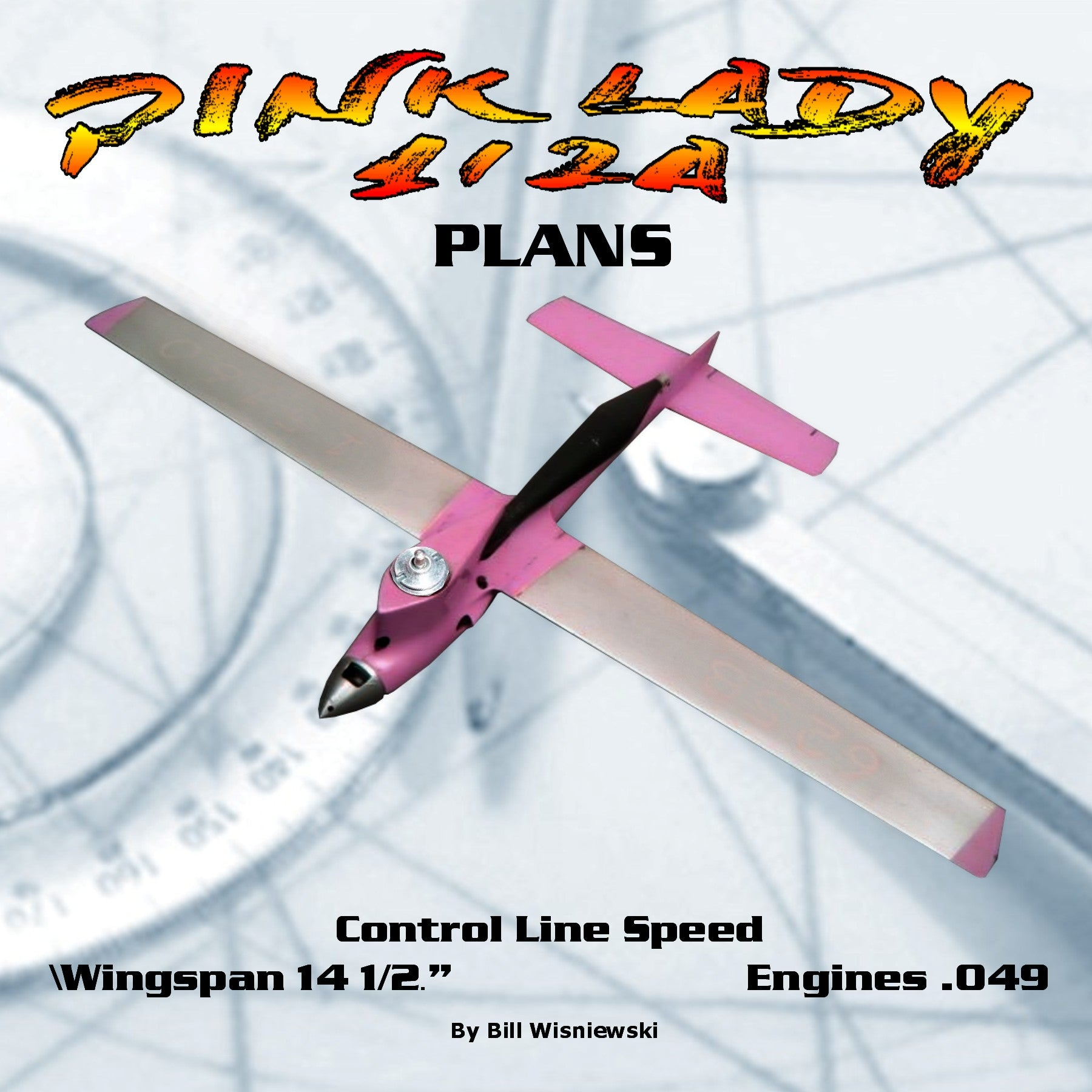 FULL SIZE PLANS CONTROL LINE SPEED PINK LADY  CLASS  ½ A WINGSPAN 14 1/2""