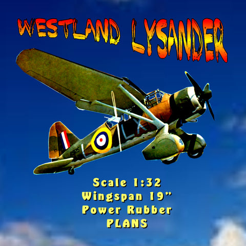 "Full size printed plan WESTLAND LYSANDER Scale 1:32  Wingspan 19""  Power Rubber"