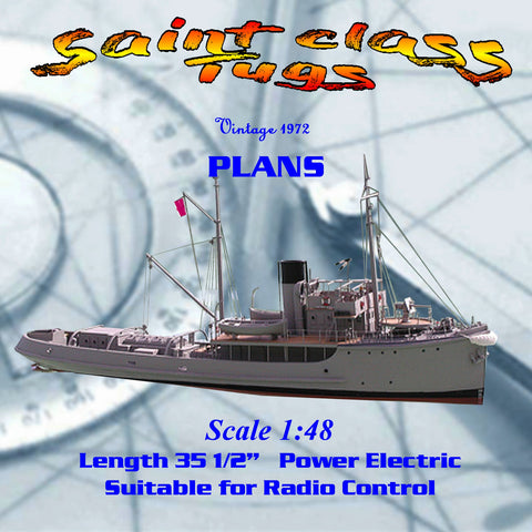 "Full Size Printed Plan 1/48 Scale 35 1/4"" Radio Control Saint class tug"