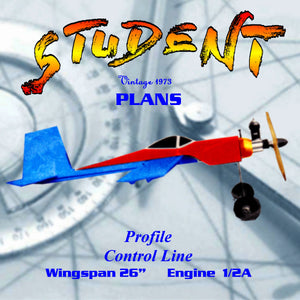 "Full Size Printed Plan Control line profile  Trainer ""STUDENT"" rugged, light and builds quickly"