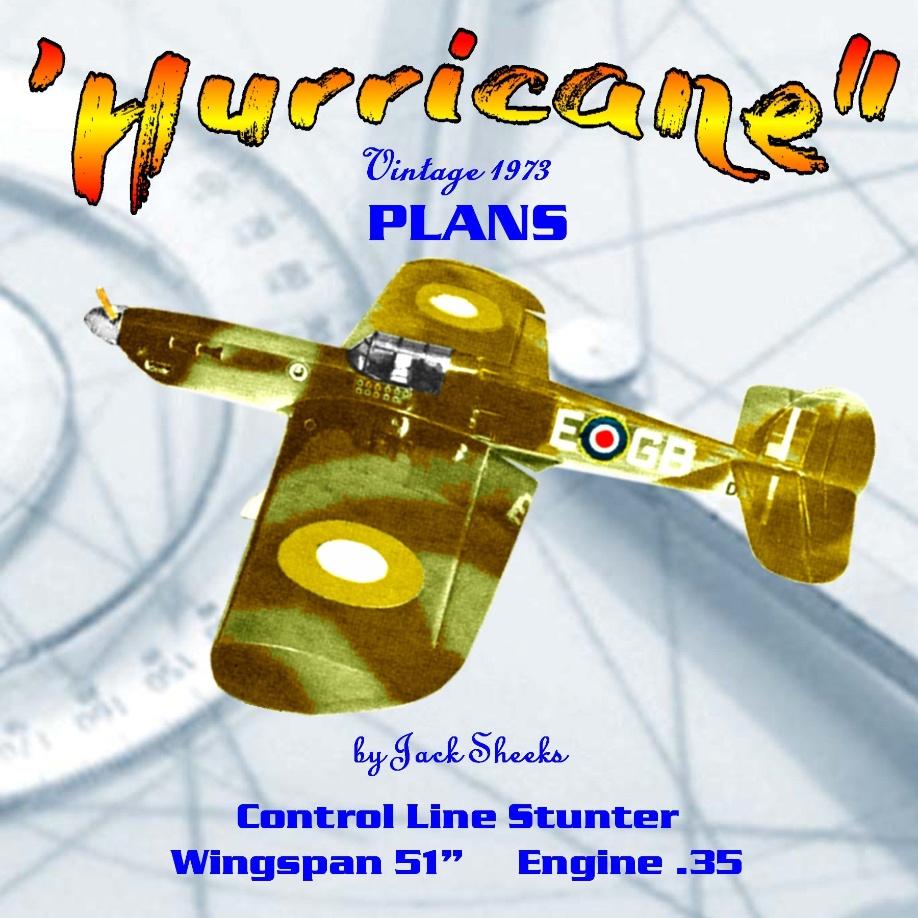 "Full size printed plans  Vintage 1973 Control Line Stunter ""Hurricane"" will try not to let you down."