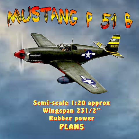 "Full size printed plan Mustang P 51 B Semi-scale 1:20 approx  Wingspan 231/2""  Rubber power"