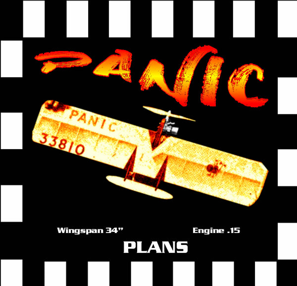 "Full Size Printed Plan & Building Notes British Combat *PANIC* Wingspan 33""  Engine .15 (2.5cc)"