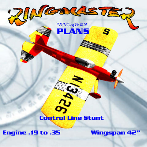 Full Size printed plan Vintage 1951 Control Line Stunt  .19 to .35 RINGMASTER  tried and proven stunt ship