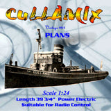 "Full Size Printed Plans Scale 1:24 1/2"" = 1ft  Length 39 3/4"" diesel-engined tug CULLAMIX"