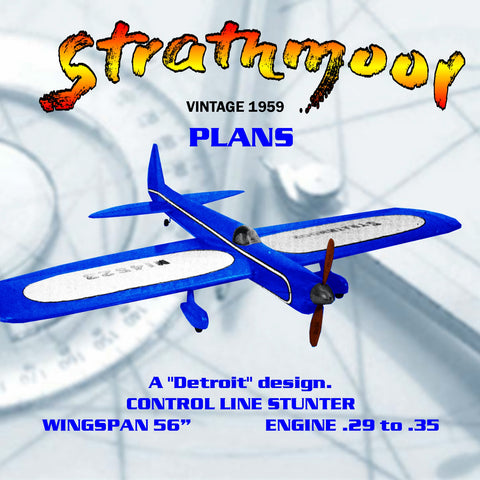 Full size printed plan Vintage 1959 CONTROL LINE STUNTER Strathmoor more places at the Nats than any others.