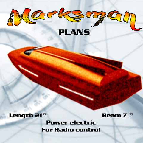 "Full size Printed Plans  fast electric model Marksman L 21"" For Radio control"