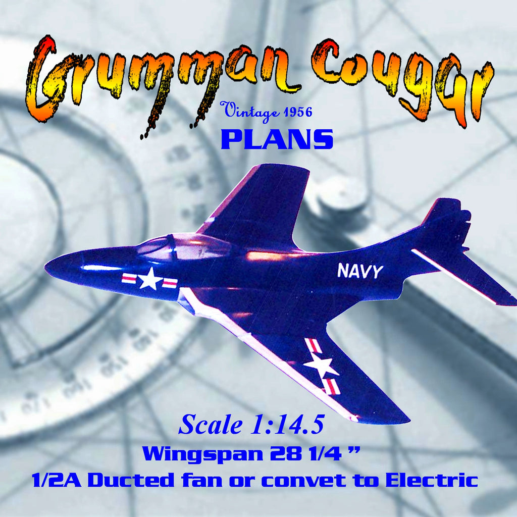 Full Size Printed Plan Free flight 1/2 A Ducted Fan