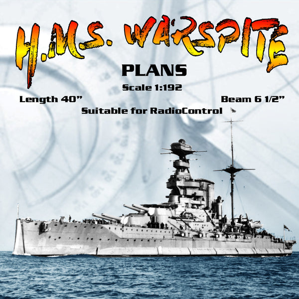 "FULL SIZE PRINTED PLANS  Scale 1:192 battleship  L 40"" Suitable for radio control"
