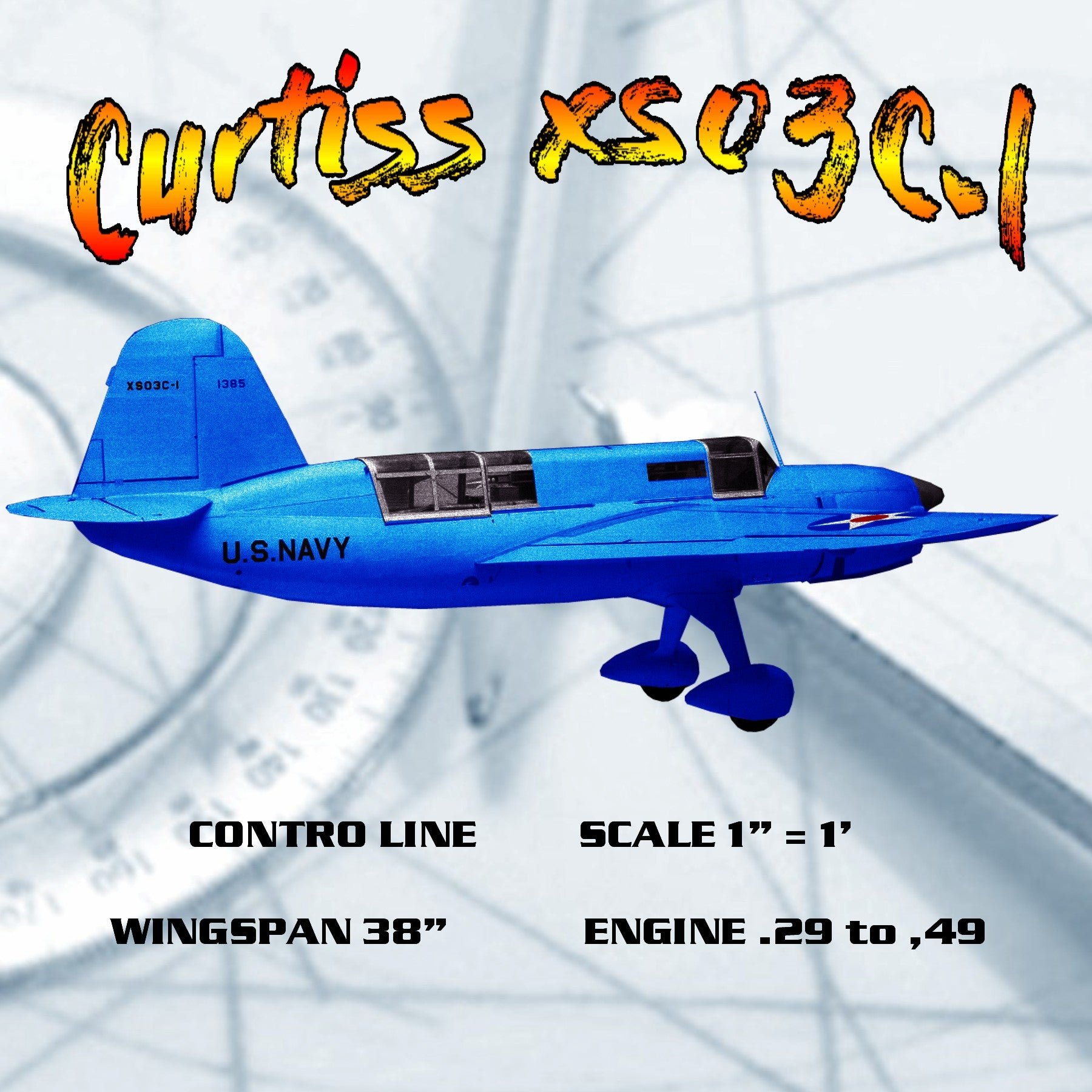 "FULL SIZE Printed Plans CONTROL LINE SCALE 1"" = 1' WINGSPAN 38"" Curtiss XS03C-l"