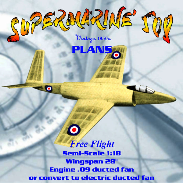 Full Size Printed Plan Free fight SUPERMARINE 508 .09-.14 Ducted Fan