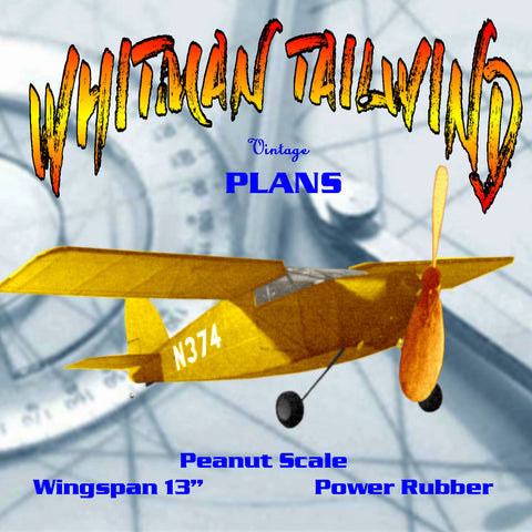 "Full size printed plans Peanut Scale ""WHITMAN TAILWIND"" suitable as a first Peanut to be built from scratch"
