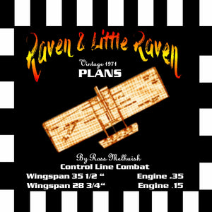 "Full Size Printed Plan vintage 1971 Control line Combat ""The Raven & Little Raven"" Foam wings"