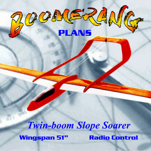 "Full Size Printed Plan twin-boom Slope soarer Wingspan 51""  for Radio Control"