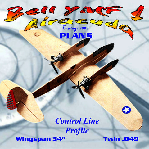 Full Size Printed Plan Control Line Sport Scale Proflle Bell YMF 1 Airacuda easy to build and great fun to fly