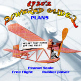 Full Size Printed Plans Peanut Scale 1920'S POWERED GLIDER ton of fun for peanuts with this simple, rugged model
