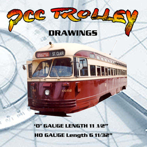 SCALE PRINTED DRAWINGS vintage 1947 Model Railroad O & Ho Gauge PCC TROLLEY