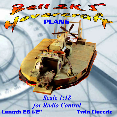 Full Size Printed Plan Scale 1:18 Bell SK 5 Hovercraft for 3 Channel Radio control