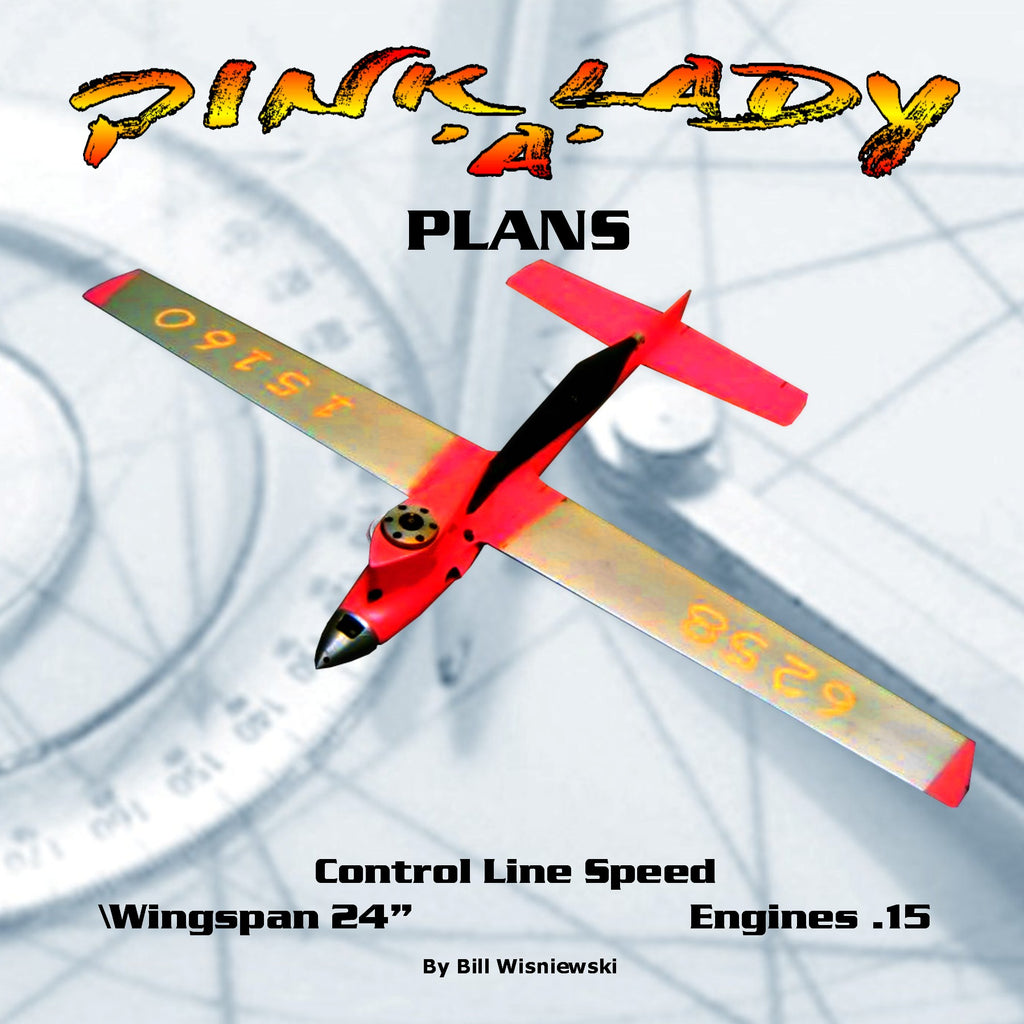 "Full Size Printed Plan Control Line Speed PINK LADY CLASS 'A' WINGSPAN 24""  ENGINE  15"