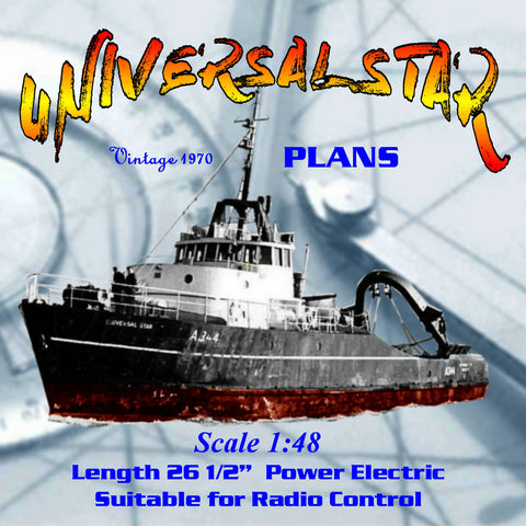 Full size printed plan to Build a 1:48 Scale model of a modern double-chine trawler