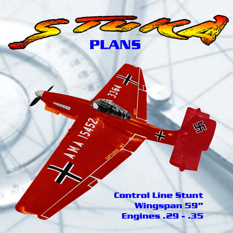 Full Size Plan Vintage 1960 .35 Control Line Stunt  STUKA spectac­ular scale-stunt aircraft