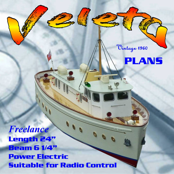 Full Size printed plans to build a simple 24in. all-balsa motor yacht for radio control. Veleta