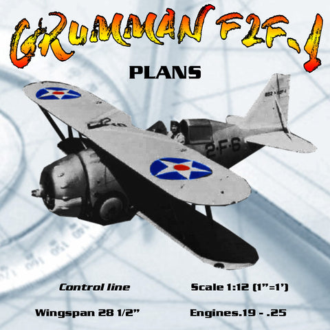 "Full size printed plans Control line Scale 1:12 (1""=1') Wingspan 28 1/2"" GRUMMAN F2F-1"