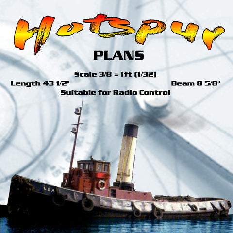 "Full Size Printed Plans  Scale 3/8 = 1ft (1/32) twin screw tug  L 43"" Suitable for Radio Control"