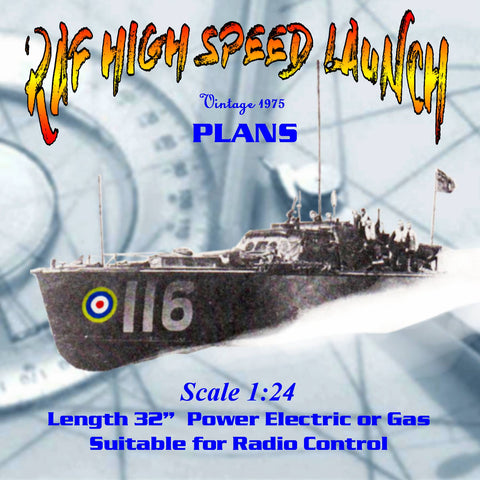 Full size Printed Plans Scale 1:24 BRITISH POWER BOAT 64ft. H.S.L. Suitable for Radio Control