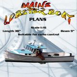 "Full size Printed Plans Scale 1:16 Full size Printed Plans  MAINE LOBSTER BOAT L 38""  Suitable for radio contro"