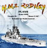 "Full Size Printed Plans  Battleship Scale 1/240  L 35"" Suitable for Radio Control"