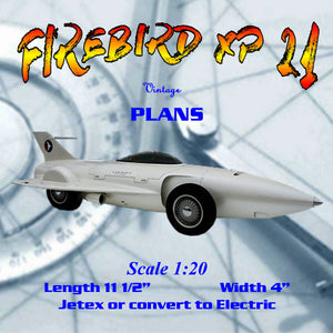 Full size printed plan Scale 1:20 FIREBIRD XP 21 JETEX 50 MOTOR  Or  Convert to Electric
