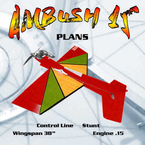 "Full Size Printed PLANS  Control Line Stunt Wingspan 38""  Engine .15  AMBUSH 15 BY ALLEN W. BRICKHAUS"