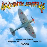 "Full Size Printed Plan AEROBATIC SPITFIRE Control line Stunt  Wingspan 56""  Engine .35"