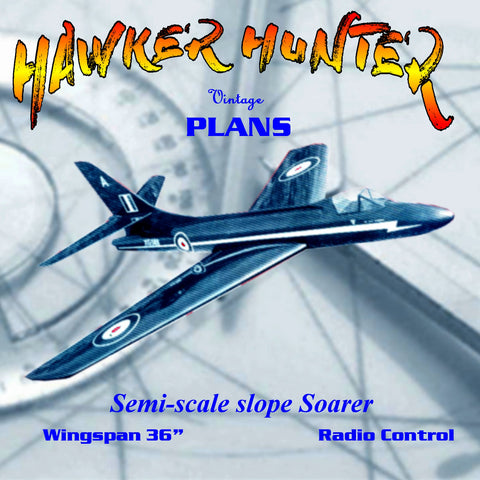 "Full Size Printed Plan Semi-scale HAWKER HUNTER glider W/s 36"" for Ragio control"