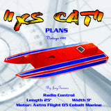 "Full Size Printed Plan Easy Foam and Wood Electric Catamaran 25"" ""XS CAT"" for Radio control"