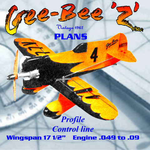 "Full Size Printed Plan CONTROL LINE  Why not try a Profile Racer? The Gee-Bee ""Z"" racer,"