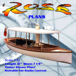 Full Size Printed Plan to build a  freelance Scale1:12 Steam Launch suitable for radio control
