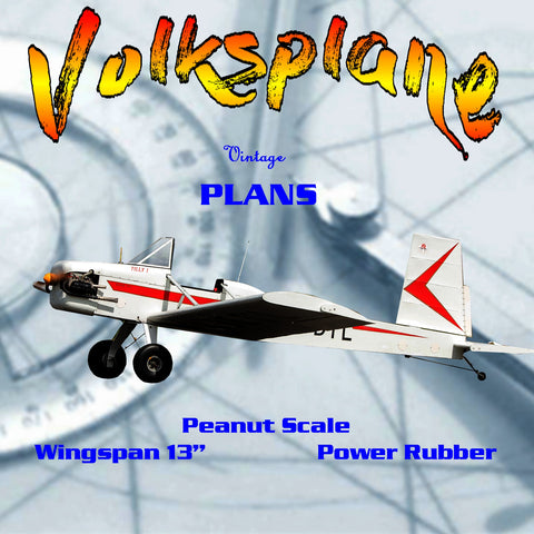 Full size printed plans Peanut Scale 'Volksplane' Also suited for the beginner in the Peanut scene