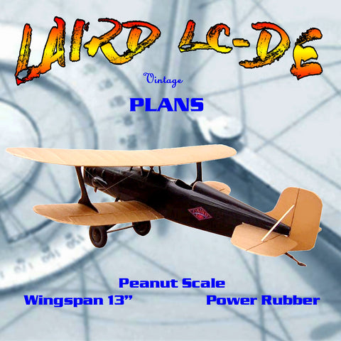 "Full size printed plans Peanut Scale ""LAIRD LC-DE""  radial engined version of the Laird LC-DE"