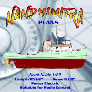 "Full Size Printed Plan to build Semi-Scale 1:60 25 1/2"" Harbour Tug suitable for radio control"