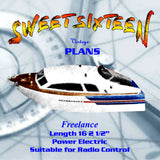 "Full size printed plan begginers plan Length 16 1/2""  Inboard electric SWEET SIXTEEN Boat"