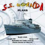 "Full size Printed Plan cargo-passenger Scale 1:164 L 40"" S.S. UGANDA Suitable for radio control"