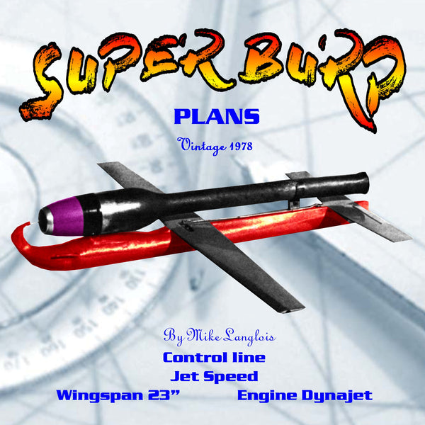 Full size printed plan Control Line Jet Speed SUPER BURP Three time Nationals winner