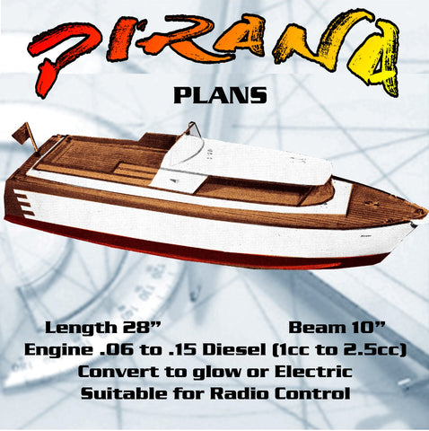 "Full size printed Plan high-speed model L 28"" Gas or Electric Express Cruiser For Radio Control"