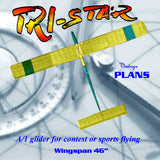 "Full Size Printed Plan Beginner's Sailplane  W/S 46"" A/1 Class Glider ""TRI-STAR"""