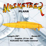 "Full size printed PLAN fast R/C steering and multi-boat racing L 28""  B 9""  Engine .15 to .40"