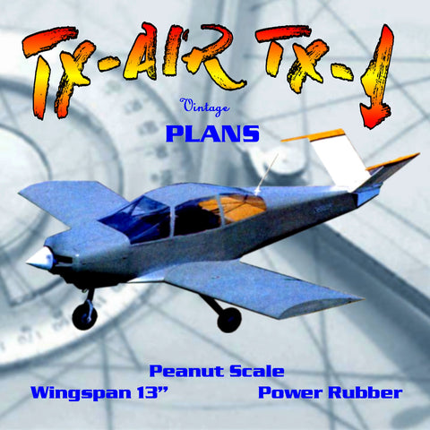 "Full size printed plans Peanut Scale ""TX-AIR TX-1"" is much more eye-appealing with rounded lines"