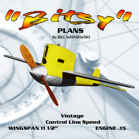 "Full Size Printed Plan 1955 Control Line Speed ""Bitsy"" Baked Rivet less Aluminium Wing"