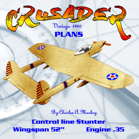 "Full Size Plan Vintage 1960 CONTROL LINE STUNT ""CRUSADER"" A Twin-boom Hot Stunt Contender"